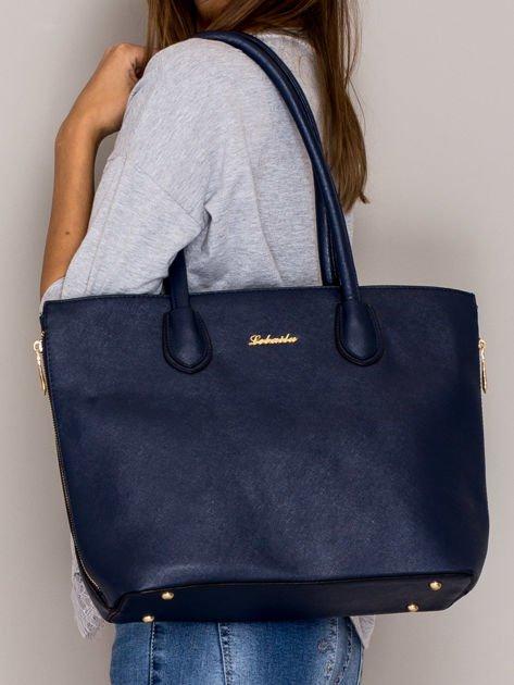 Granatowa torba shopper bag ze złotymi suwakami                                  zdj.                                  4
