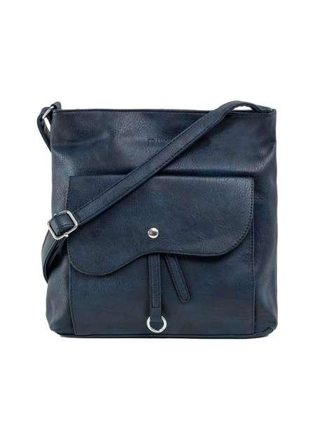 Granatowa torba z ozdobną kieszenią