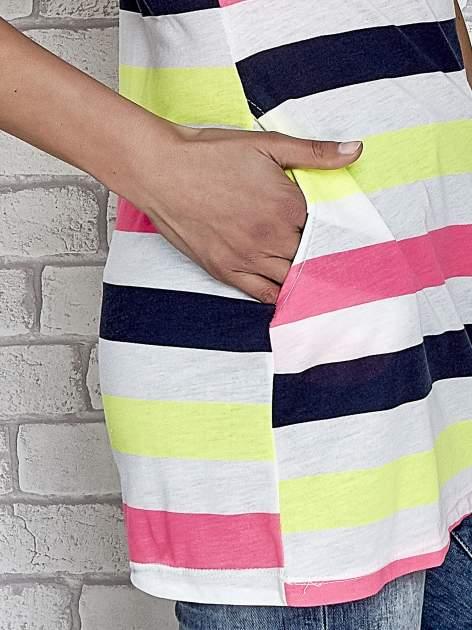 Granatowa tunika w kolorowe pasy                                  zdj.                                  6
