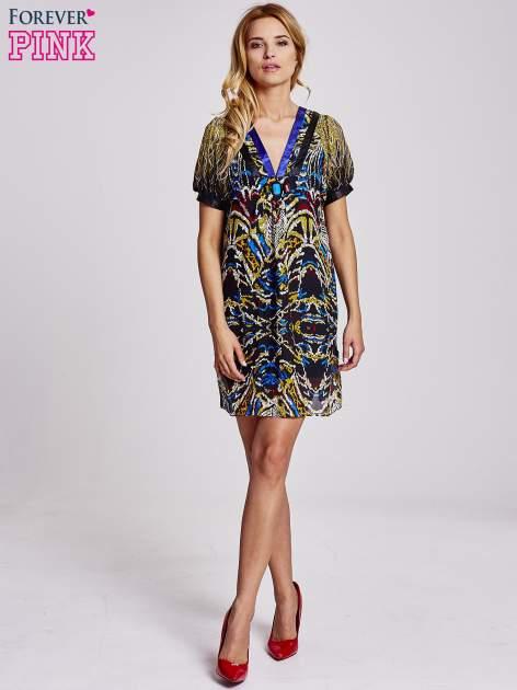 Granatowa  wzorzysta sukienka z kamieniami                                  zdj.                                  4