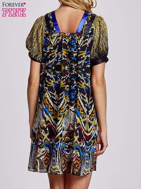 Granatowa  wzorzysta sukienka z kamieniami                                  zdj.                                  2