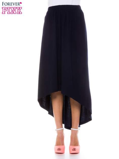 Granatowa zwiewna spódnica z dłuższym tyłem