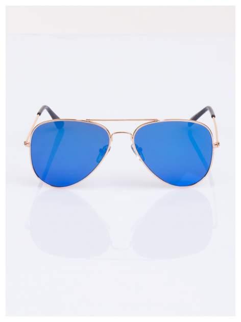 Granatowe AVIATORY w złotej oprawie - okulary przeciwsłoneczne pilotki lustrzanki unisex                                  zdj.                                  2