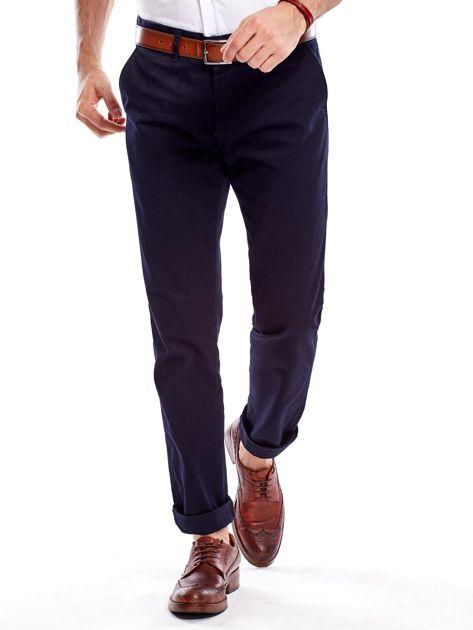Granatowe bawełniane spodnie męskie                               zdj.                              5