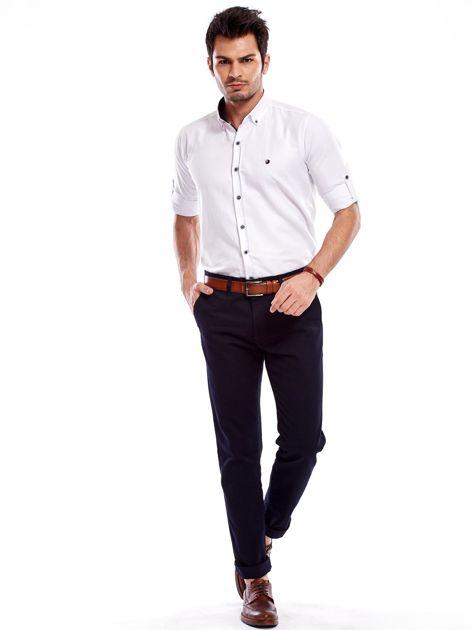 Granatowe bawełniane spodnie męskie                               zdj.                              4