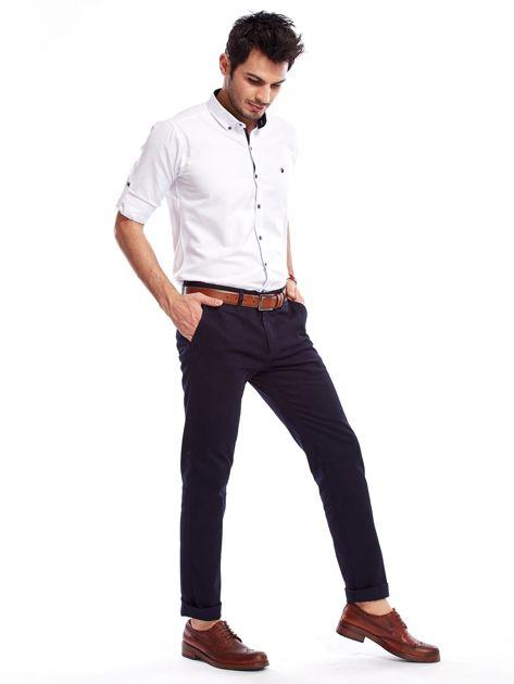 Granatowe bawełniane spodnie męskie                               zdj.                              8