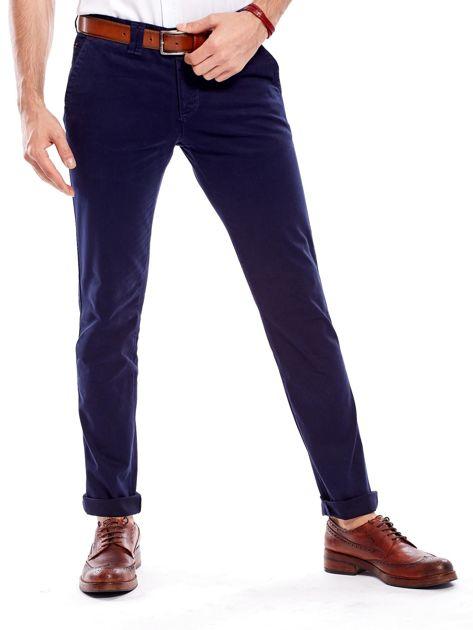 Granatowe bawełniane spodnie męskie chinosy                               zdj.                              1