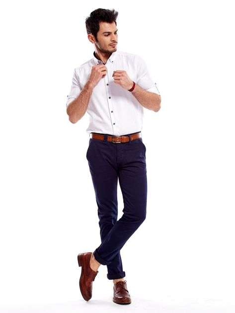 Granatowe bawełniane spodnie męskie chinosy                               zdj.                              12