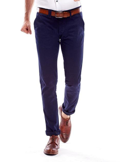 Granatowe bawełniane spodnie męskie chinosy                               zdj.                              6