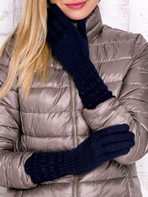 Granatowe długie rękawiczki z drapowanym rękawem