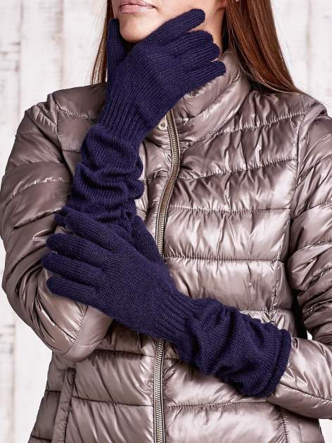 Granatowe długie rękawiczki z marszczonym ściągaczem                                   zdj.                                  1