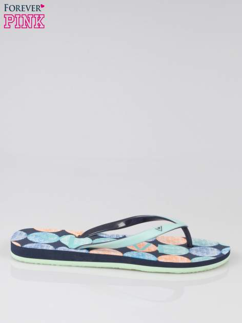 Granatowe japonki plażowe z kolorową podeszwą                                  zdj.                                  1