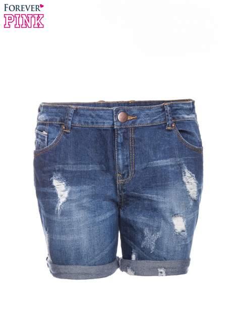 Granatowe jeansowe szorty z podwijanymi nogawkami                                  zdj.                                  8