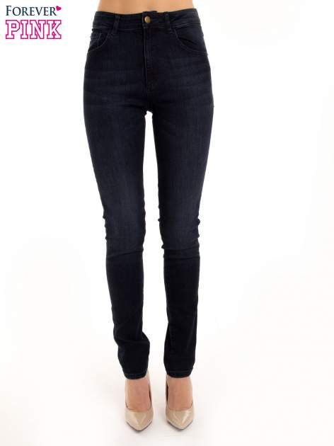 Granatowe jeansy rurki z wysokim stanem                                  zdj.                                  2