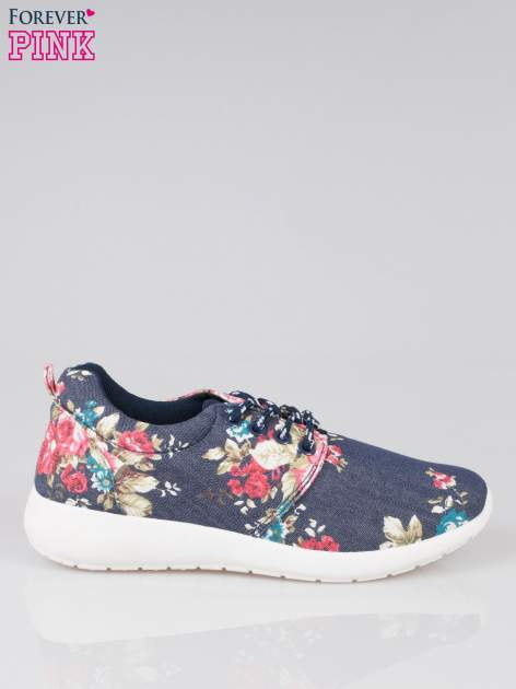 Granatowe kwiatowe buty sportowe Bring It On na podeszwie flex                                  zdj.                                  1