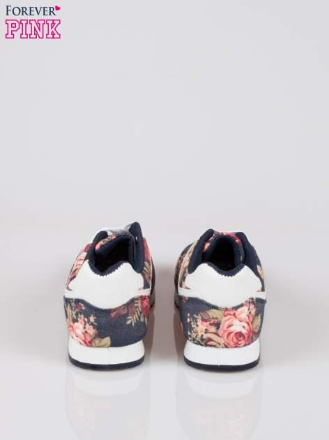 Granatowe kwiatowe miejskie buty sportowe Blushy                                  zdj.                                  3