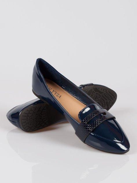 Granatowe lakierowane mokasyny penny loafers Harper                                  zdj.                                  4