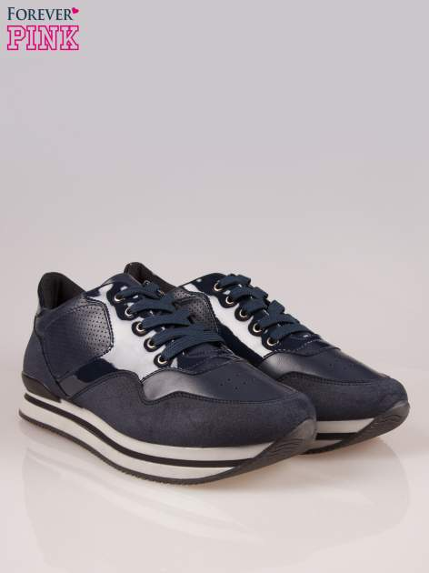 Granatowe miejskie buty sportowe textile Excellence na warstwowej podeszwie                                  zdj.                                  2