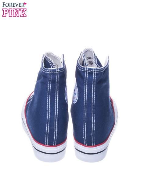Granatowe sneakersy trampki damskie na koturnie                                  zdj.                                  3