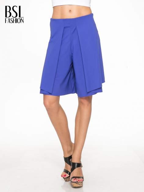 Granatowe spódnicospodnie z zakładkami                                  zdj.                                  3