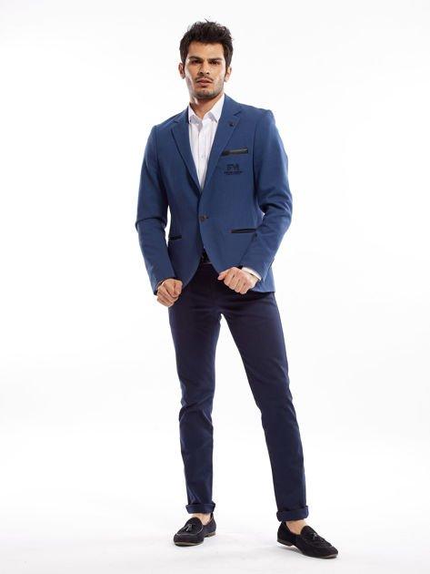 Granatowe spodnie męskie slim fit                              zdj.                              8