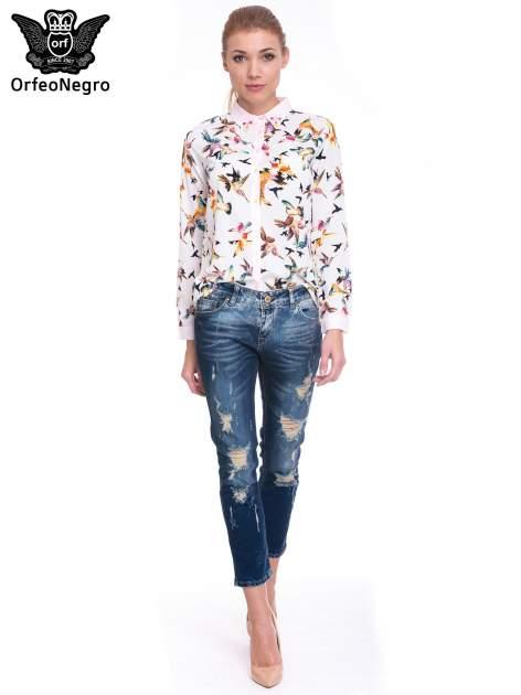 Granatowe spodnie skinny jeans z dziurami                                  zdj.                                  6