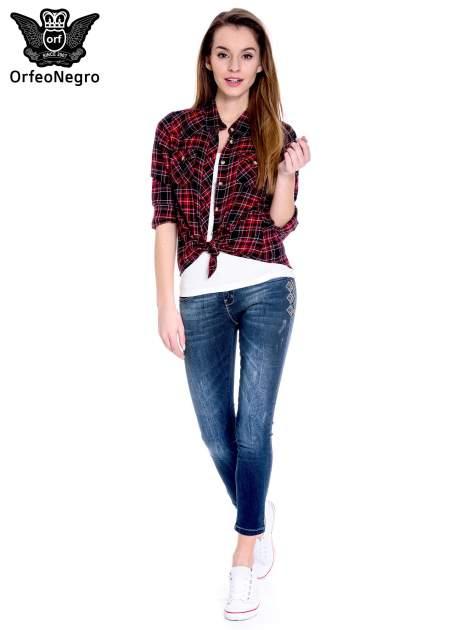 Granatowe spodnie skinny jeans z haftem                                  zdj.                                  2