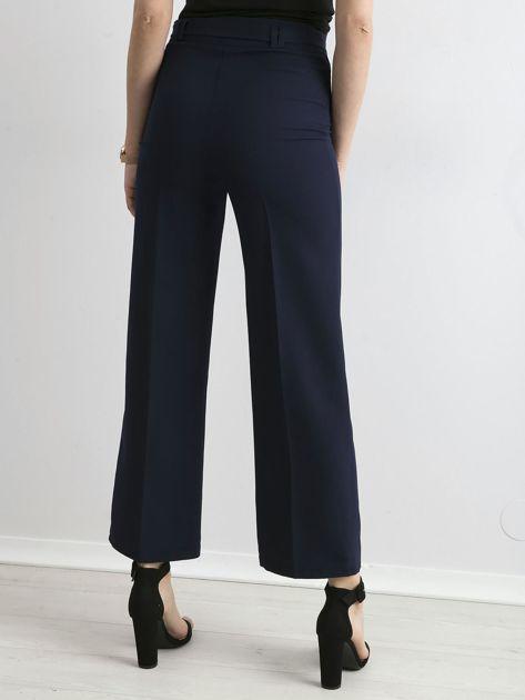 Granatowe szerokie spodnie z wiązaniem                              zdj.                              2