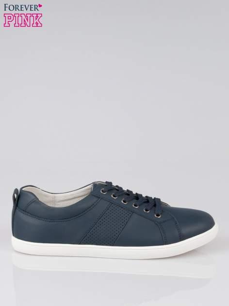 Granatowe sznurowane buty sportowe faux leather Thirsty                                  zdj.                                  1