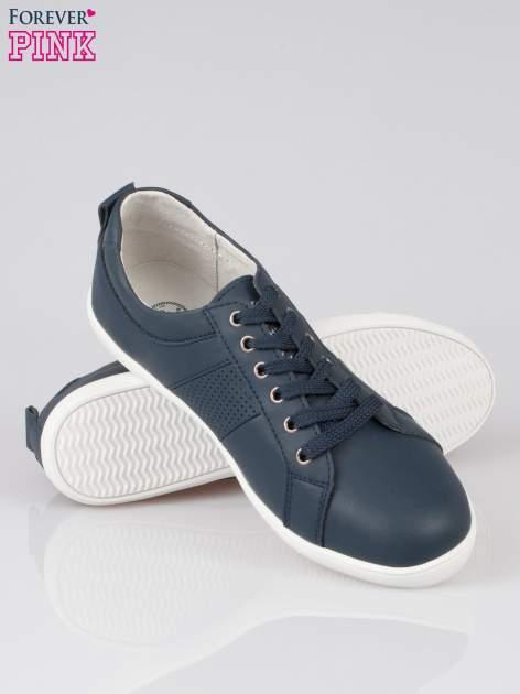 Granatowe sznurowane buty sportowe faux leather Thirsty                                  zdj.                                  4