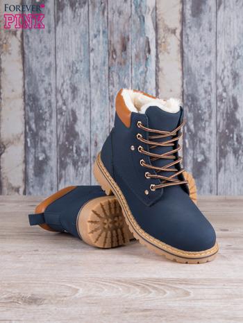 Granatowo-beżowe buty trekkingowe traperki Gossip ocieplane                                  zdj.                                  3