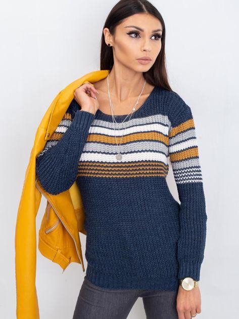 Granatowo-brązowy sweter Attitiude                              zdj.                              5