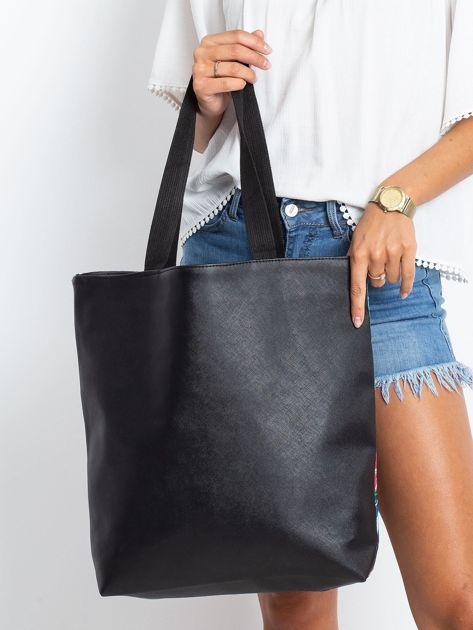 Granatowo-czarna torba z nadrukiem                              zdj.                              2
