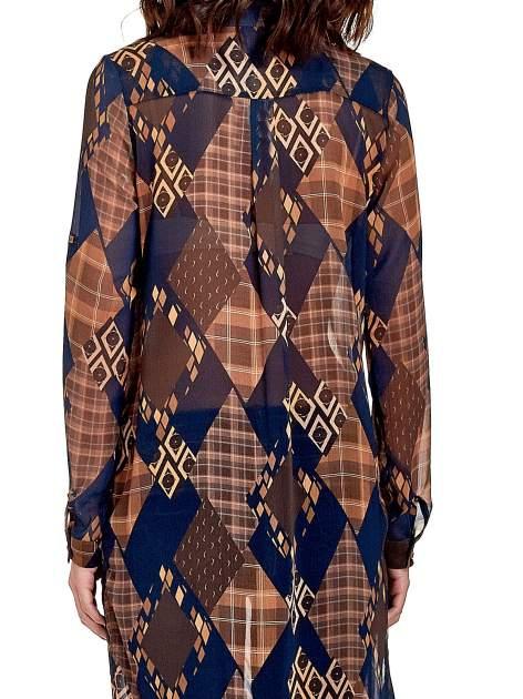 Granatowo-pomarańczowa długa koszula mgiełka w patchworkowy print                                  zdj.                                  5