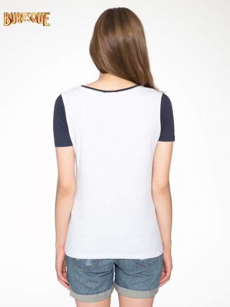 Granatowo-szary t-shirt z nadrukiem FASHION 88                                  zdj.                                  4