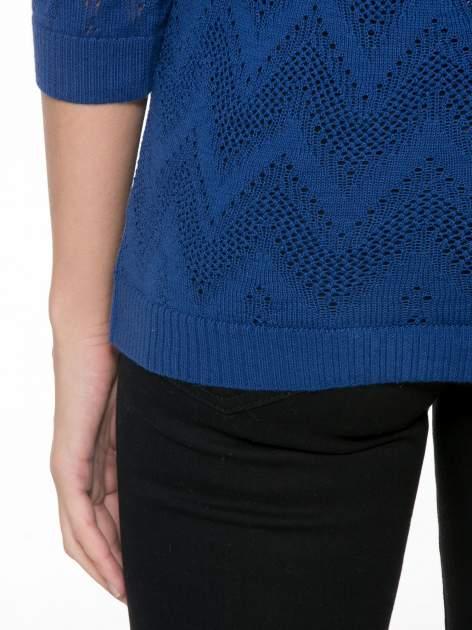 Granatowy ażurowy sweterek z rękawem 3/4                                  zdj.                                  8
