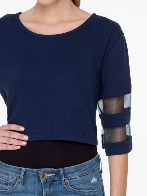Granatowy cropped t-shirt z transparentnymi rękawami                                  zdj.                                  6