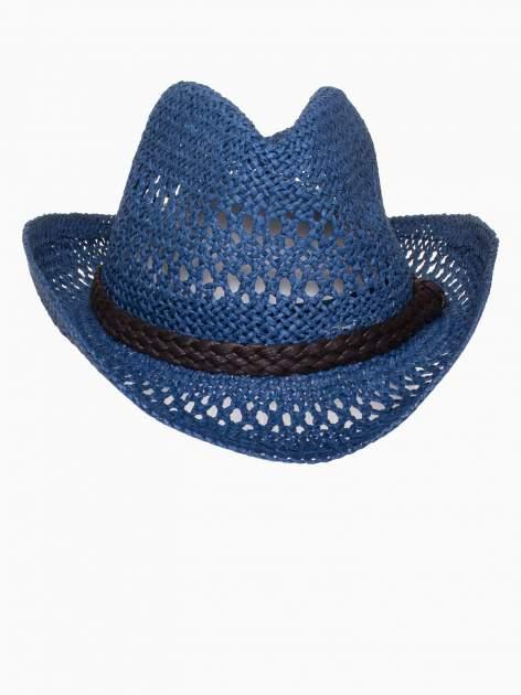 Granatowy damski kapelusz kowbojski z ciemną plecionką                                  zdj.                                  6