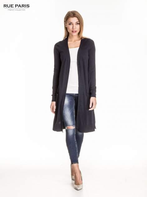 Granatowy długi sweter kardigan z rozporkami                                  zdj.                                  5