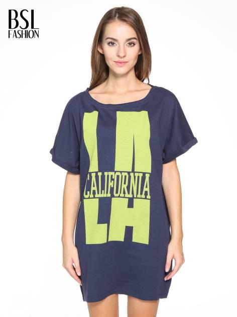 Granatowy długi t-shirt z nadrukiem LA CALIFORNIA