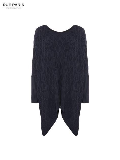 Granatowy dziergany długi sweter o kroju oversize                                  zdj.                                  5