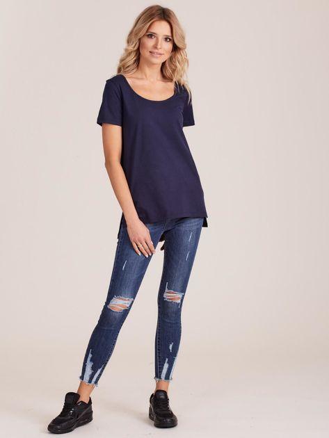 Granatowy gładki t-shirt damski                              zdj.                              4