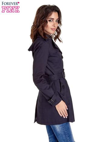 Granatowy klasyczny płaszcz typu trencz                                  zdj.                                  3
