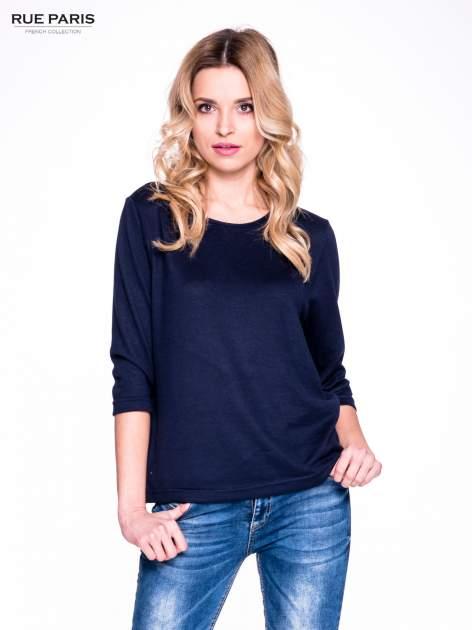 Granatowy klasyczny sweterek z luźnym rękawkiem 3/4                                  zdj.                                  1