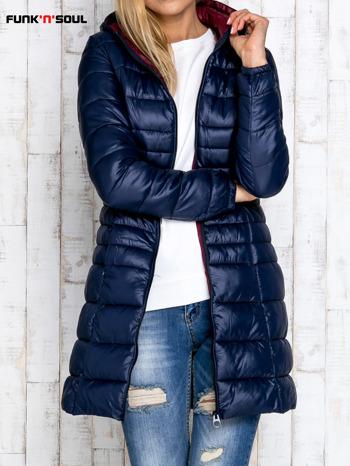 Granatowy pikowany płaszcz z kapturem FUNK N SOUL                                  zdj.                                  6