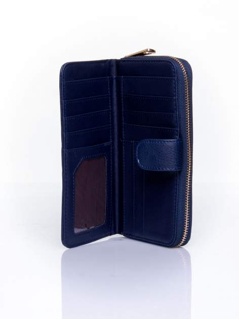 Granatowy pikowany portfel ze złotym suwakiem                                  zdj.                                  4