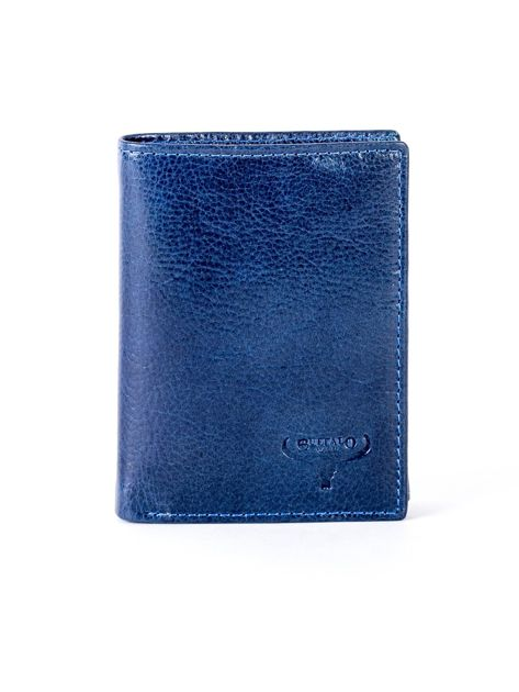Granatowy portfel skórzany z tłoczeniem                              zdj.                              1