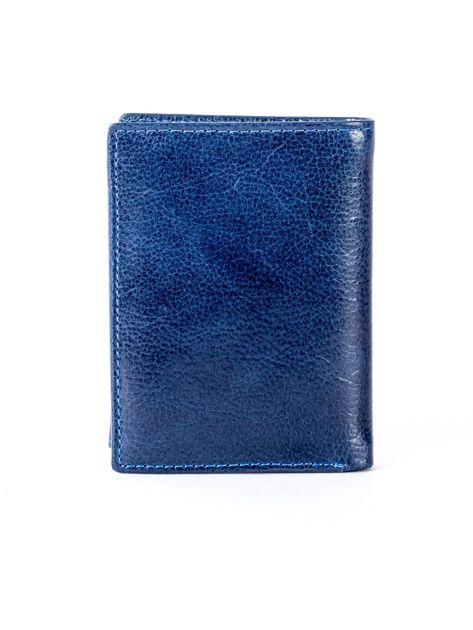 Granatowy portfel skórzany z tłoczeniem                              zdj.                              2