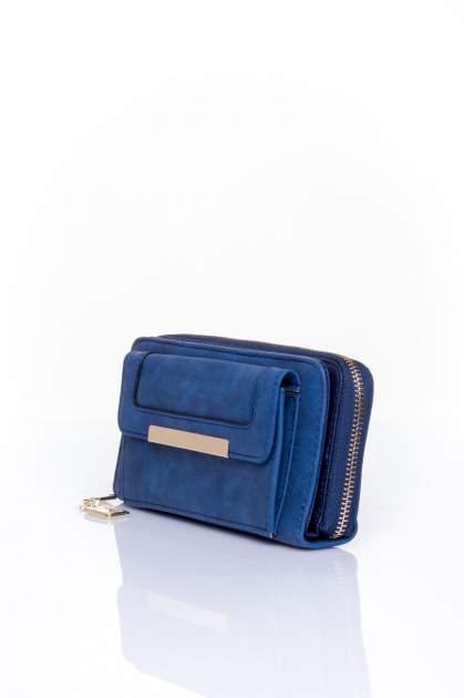 Granatowy portfel z kieszonką ze złotym elementem                                  zdj.                                  3