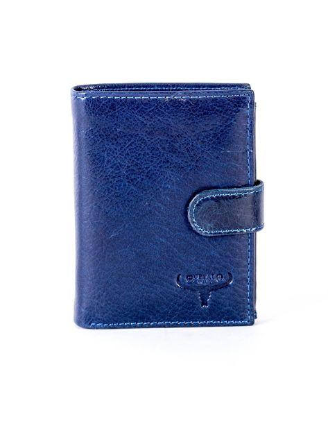 Granatowy portfel ze skóry naturalnej z klapką                              zdj.                              1